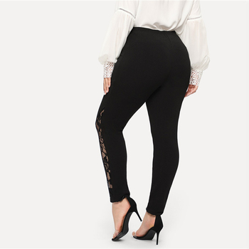 Black Casual Elastic Mid Waist Sheer Lace Insert Pencil Pants