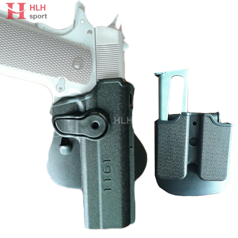 Tactical Colt 1911 Magazine Holster Polymer Retention Roto Holster & Magazine for CQC IMI 1911 Airsoft Hunting image