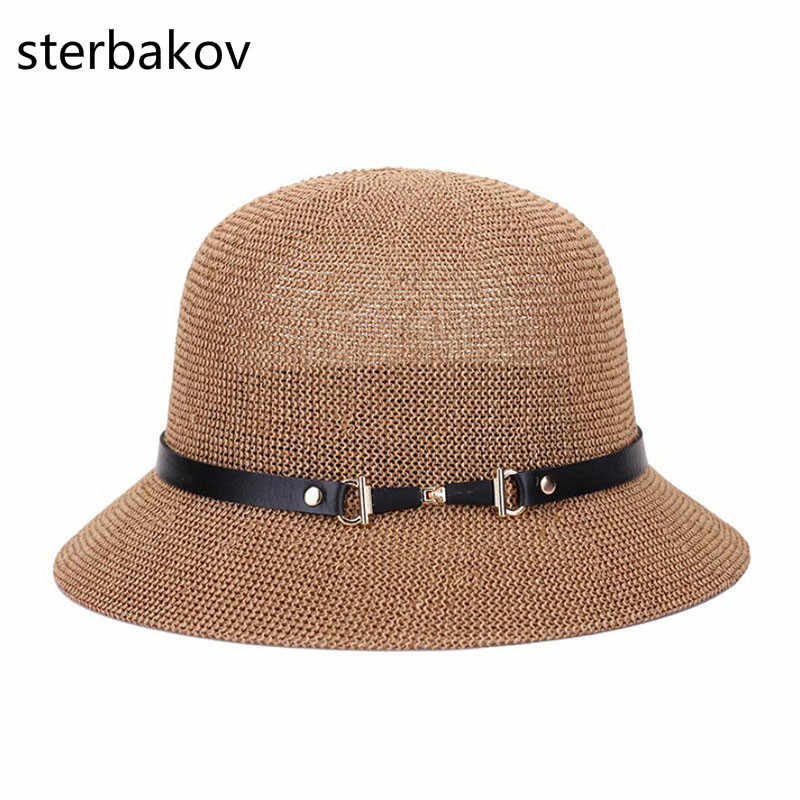 sterbakov The summer sun boater panama hat with Wide Brim hat style for  Women bf06ff9cc96a