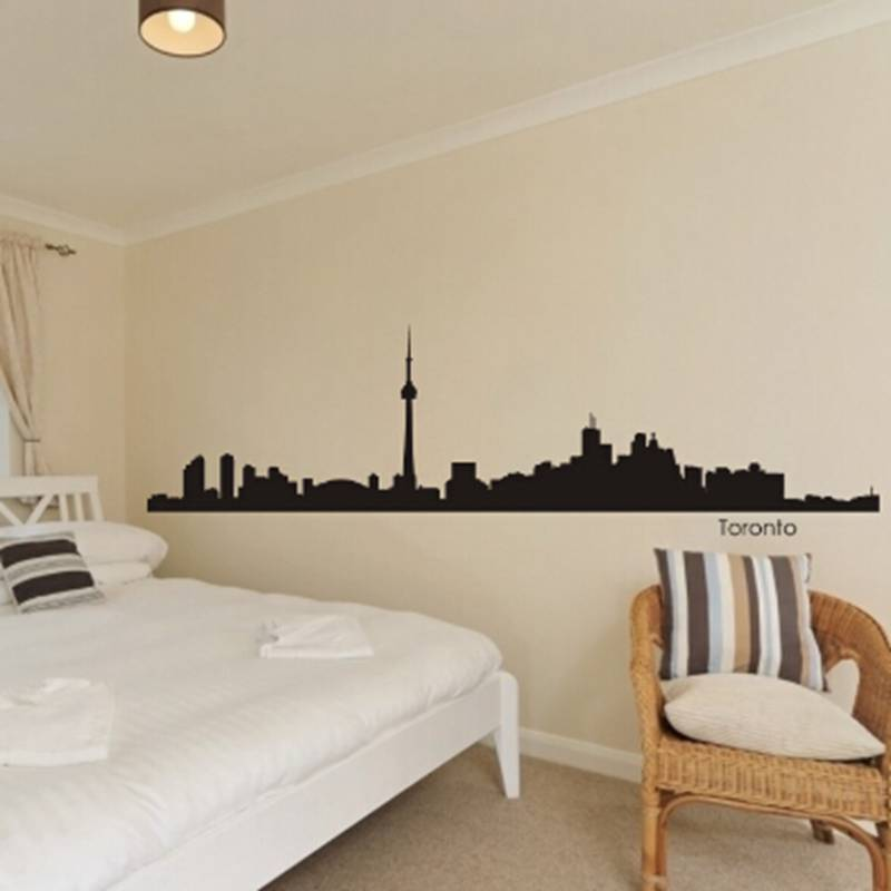 toronto city decal landmark skyline wall stickers sketch decals poster parede home decor stickerchina - Home Decor Toronto