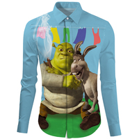 Cloudstyle Shrek with donkey long sleeves shirt gentleman cuff shirts men shirt turndown collar camisa social Ou code M 2XL size