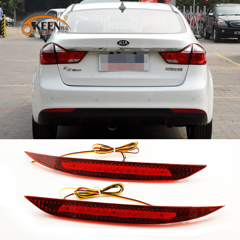 цены OKEEN Car Red Len Rear Bumper Reflector LED Stop Brake Light Tail Fog Parking Lamp for Kia K3 Cerato Forte 2012 2013 2014