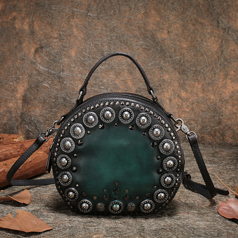 Handmade Handbag Lady Small Shoulder Sling Bags Women Retro Genuine Leather Messenger Bag Women Purse New