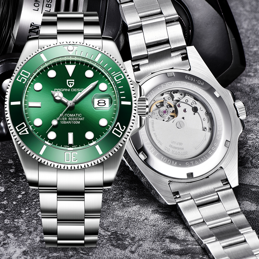 Swim Sport Watches Men original Brand Automatic Mechanical Watch Full Steel relogio masculino green Water Ghost serie Free gift title=