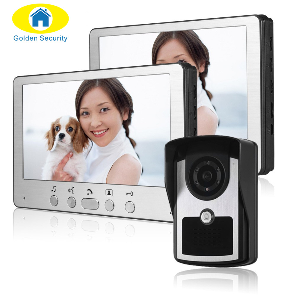 Golden Security 7  Video Door Entry Systems Video Door Chimes Bells Intercom Doorbell Phones 2 Monitor 1 Night Vision IR Camera