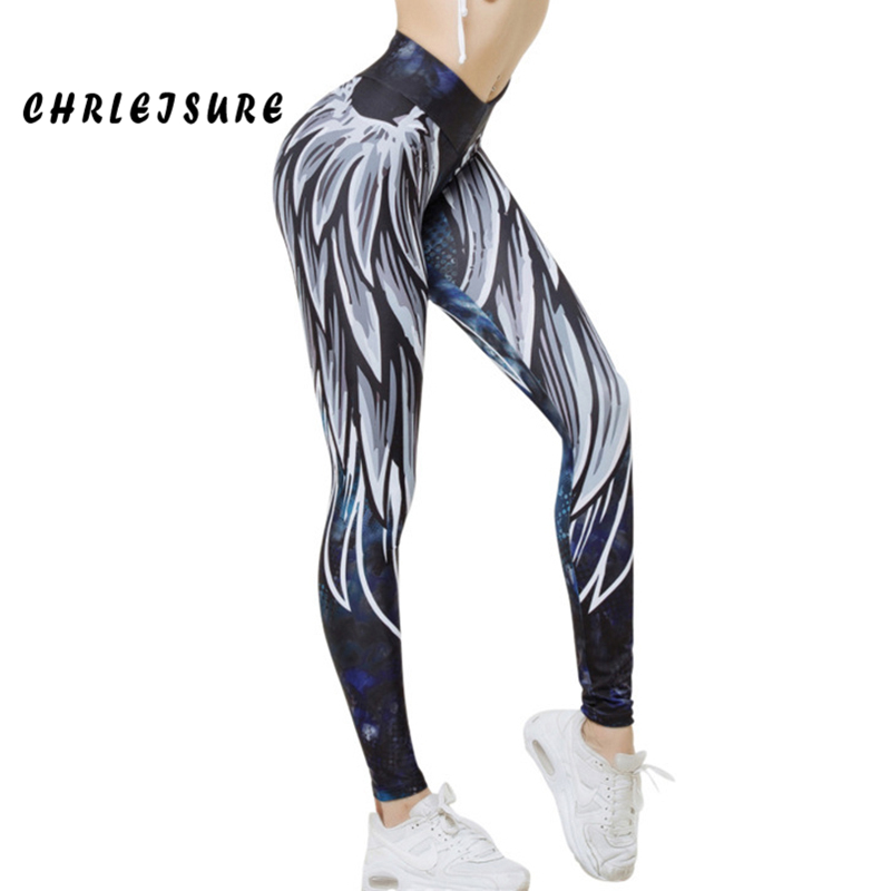CHRLEISURE Printing Leggings Women 2018 Polyester Europe and the United States Jegging Angel wing Workout Push Up Female legging