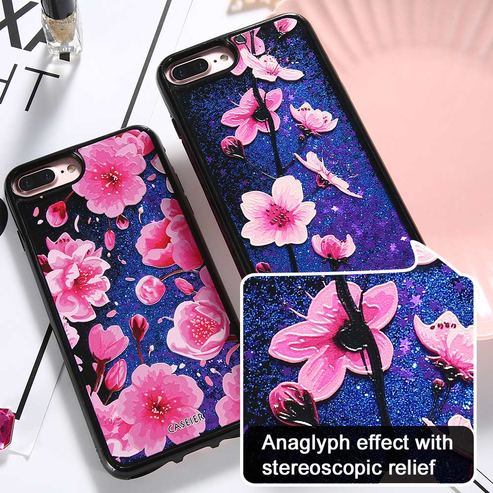 CASEIER Bling Cherry Flower Case For iPhone 6 6s Plus Liquid Quicksand Cat Cover For iPhone X 6s 7 8 Plus Cartoon Patterned Capa in Fitted Cases from Cellphones Telecommunications