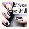 Water Transfer Nail Art Sticker Decal Stylish Women Black and White 3D Print Design Manicure Tips DIY Nail Foils Deco