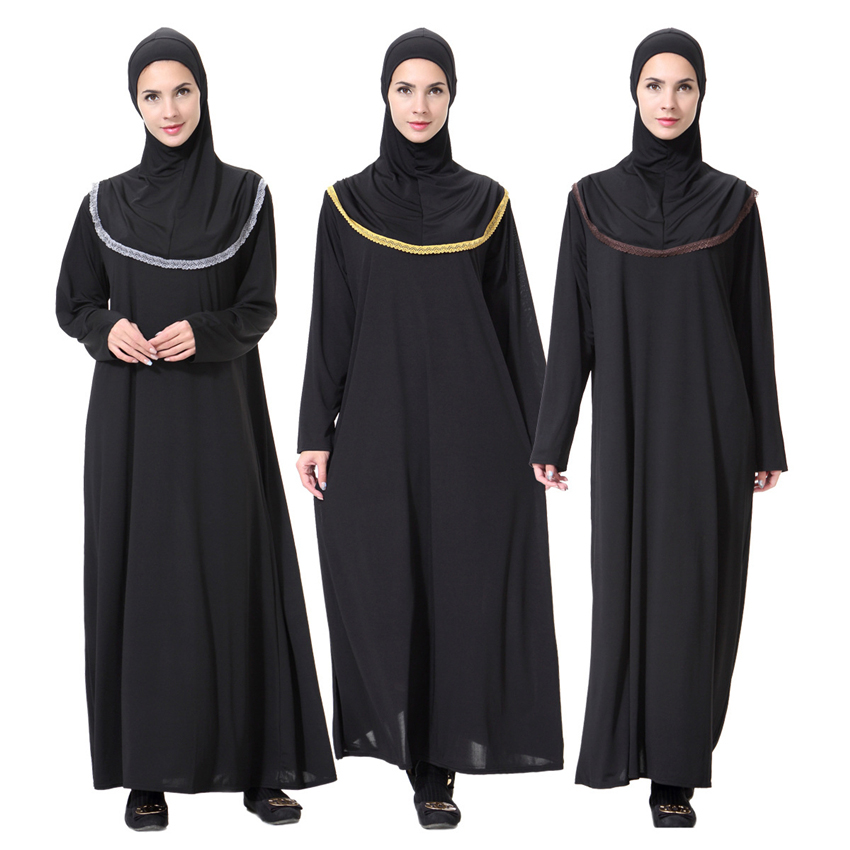 Women Black Robe Muslim Abaya Dubai Arabic Eid Worship Service Ramadan Wear Islamic Solid Clothing Elegant Prayer Dress