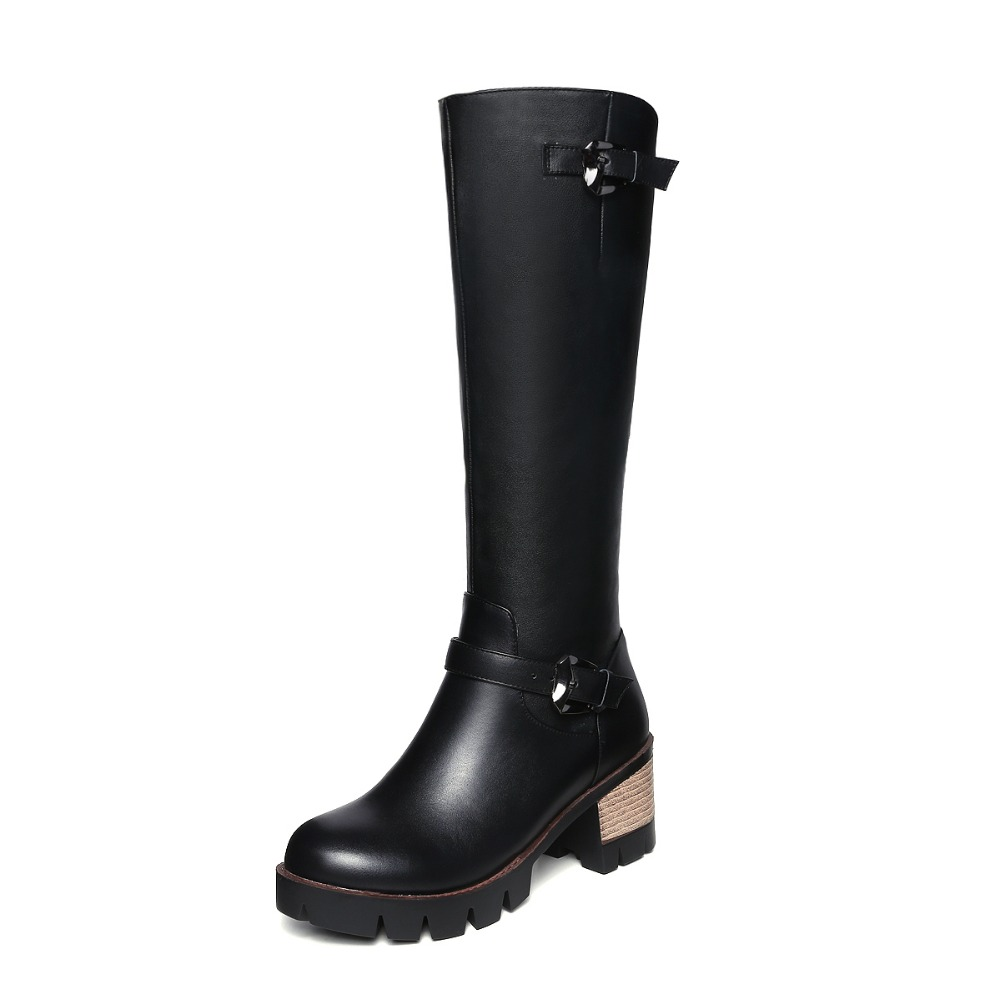 ФОТО New Fashion Women Knee-High Boots Nice Round Toe Square Heels Stylish Black Shoes Woman US Size 4-10.5