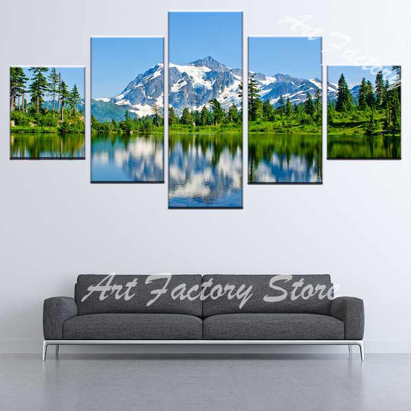 5 Pieces Modern Landscape photography Print Oil Picture poster Wall Art Canvas Painting for Living Room home decoration FJ-75(China)