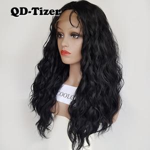 Image 4 - QD Tizer فضفاض موجة اللون الأسود الباروكات شعر الطفل غلويليس الاصطناعية الدانتيل شعر مستعار أمامي عالية الكثافة الشعر لمة لأسود النساء