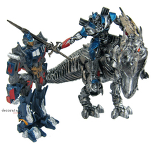 Deformation on Movie 4 Tyrannosaurus Rex Dinobots statue Grimlock Robot Dinosaur Model Action Figure Gift static set up toys in stock toy genuine version movie 4 leader class dinobots robot dinosaur tyrannosaurus grimlock with retail box
