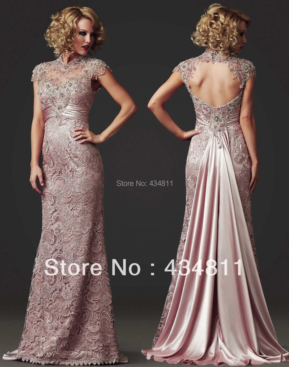 Elegant Sheer High Colla Beaded/Crystal Lace 2014 Light Pink Evening ...