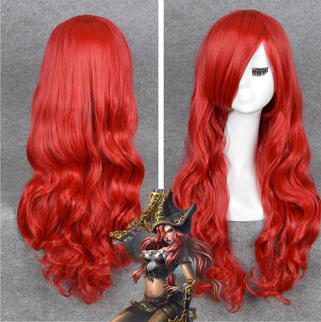 Jewelry Wig LOL Miss Fortune Cosplay Long Wavy curly Red Heat Resistant Hair Wigs WIG Free Shipping