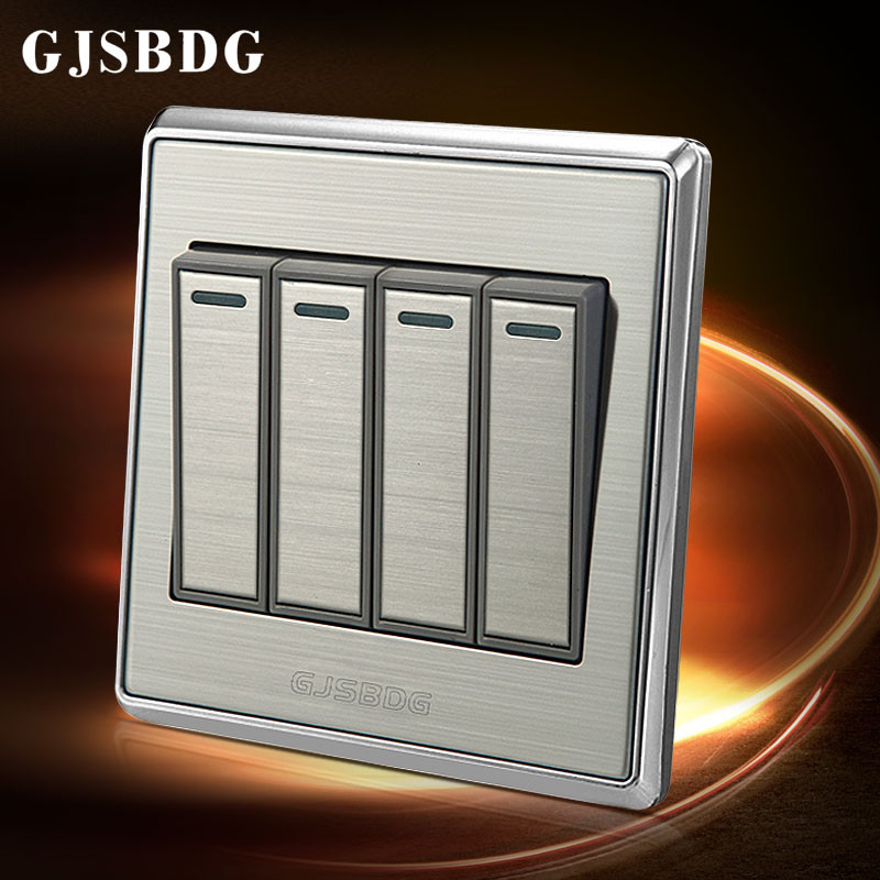 Final Clear Out 1pcs 4 Gang 2 Way GJSBDG X7005 Series Wall Switch Panel Electric Silver Wire Drawing Modern Design In Switches From Home Improvement