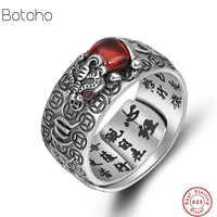 2019 New Buddha Adjustable Ring 100% Real 925 Sterling Silver Jewelry Men Women Lucky brave troops Mantra Ring Christmas gifts