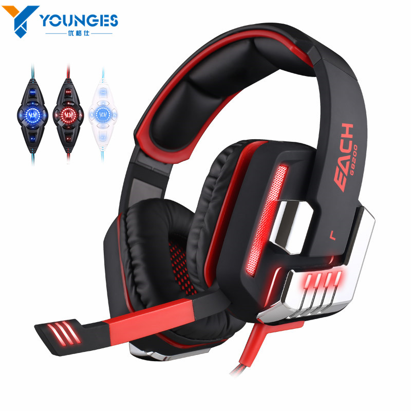 ФОТО YG-LLG 5 Gaming Headset 7.1 Surround Sound USB Vibrating Gaming Headset Headset Microphone LED Light for PC Games