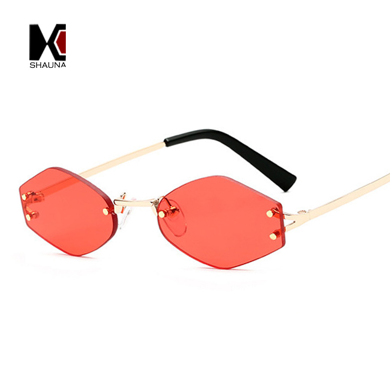 SHAUNA Fashion Rimless Women Diamond Sharp Sunglasses Popular Men Clear Red Lens Shades UV400