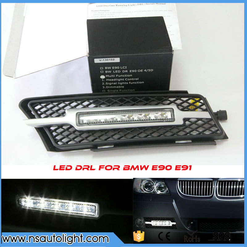 Factory Fitment LED DRL Daytime Running Fog Lights for BMW 3 Series E90 E91 2006-2008 fit for 5 series drl car lamp led daytime running lights for bmw 2008 2012 5 series f10 f11 f18 520i 523i 525i 528i 530i 535i
