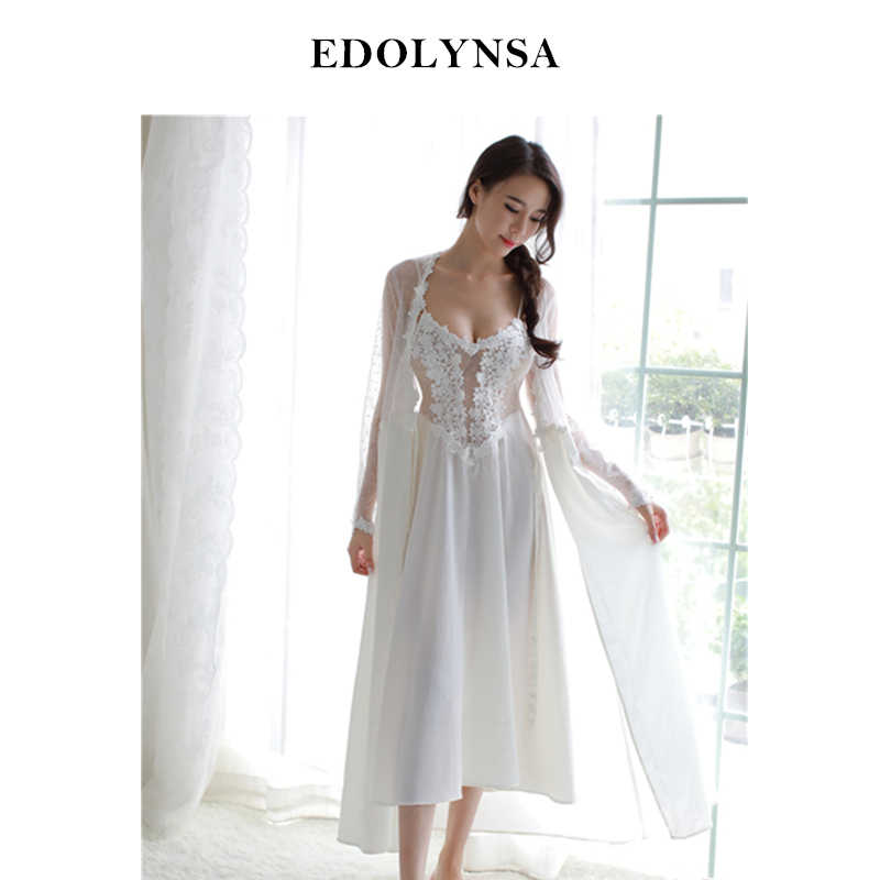 e71815888c7 Sexy Women Robe Gown Set Twinset Bathrobe Night Dress Two Pieces Sheer  Sleepwear See Through Long