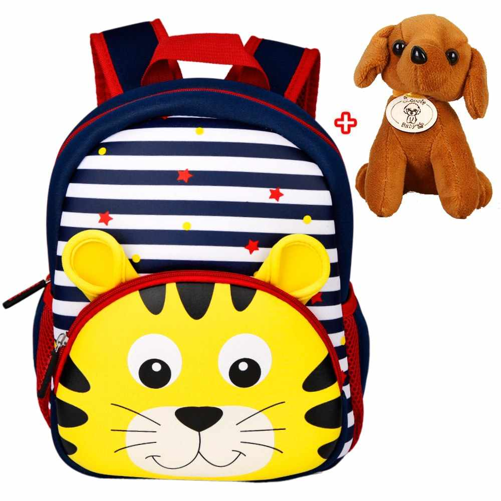 3cf20e8ff594 3D мультфильм Детские Рюкзаки Сумка для школы или детского сада животные  неопрен Детский рюкзак детские школьные