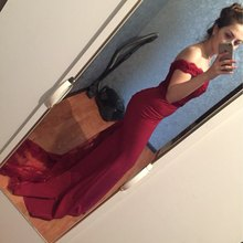 vestido de festa longo 2018 Wine Red Prom Dresess Sexy Off Shoulder Mermaid Evening Dress For