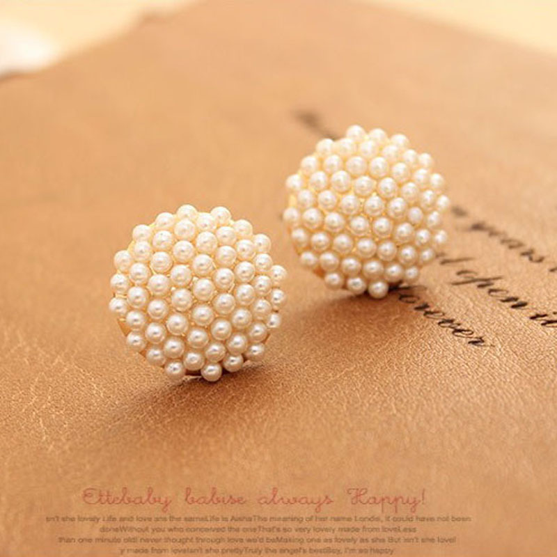 Artificial White Imitation Pearl Earrings Por Beads Mushroom Shaped Jewelry Studs For Woman In Stud From Accessories