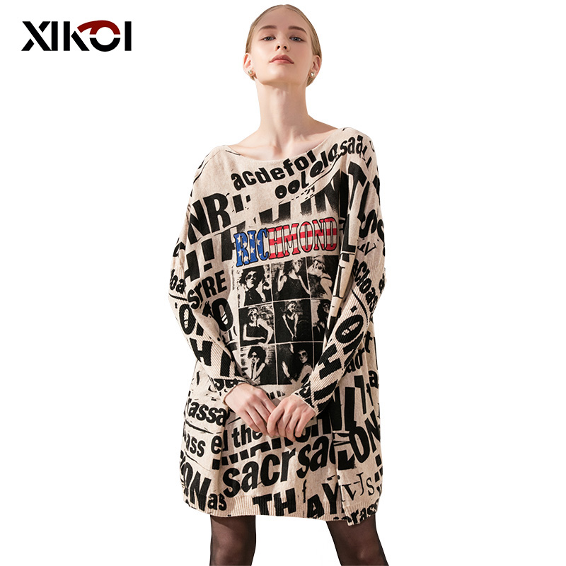 XIKOI Casual Long Oversize Women Sweater Batwing Sleeve Black Letter Print Women's Sweaters Clothes Pullovers Fashion Clothing