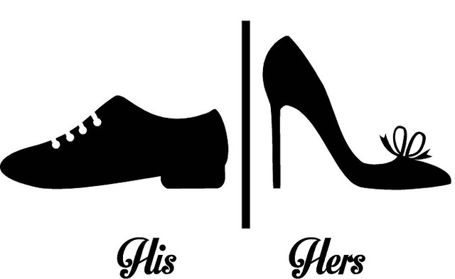 Creative His Hers Shoes Wall Sticker Shoes Symbol Toilet Washroom