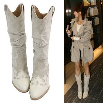 XingDeng Girl Square Heel Knight Boots Women Brand Designer Pointed Toe Western Boots Lady Vintage Carving Buckle Mid Calf Shoes 1
