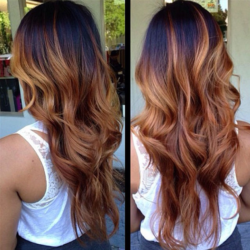 Two Tone Weave Ombre Human Hair Extensions 4 bundles 1B/27 ...