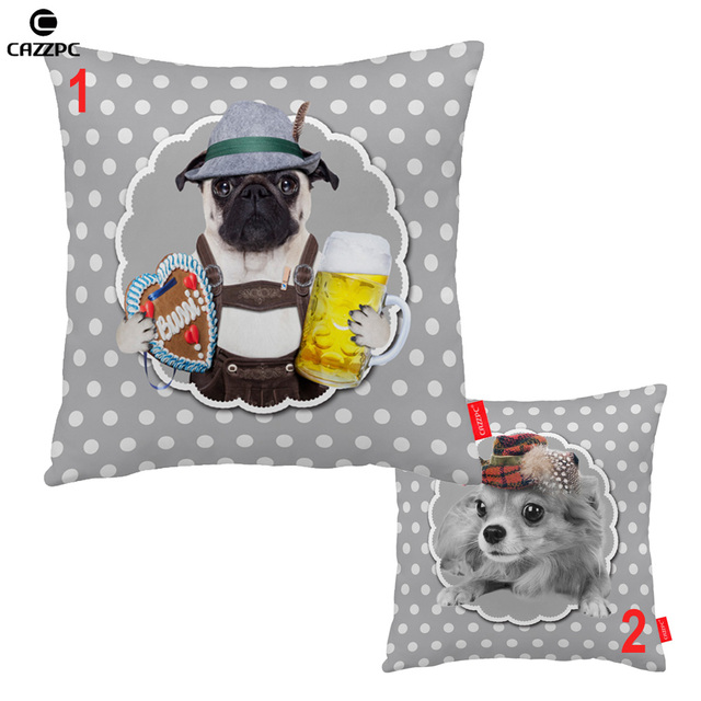 Vintage Gray Dot Pug Papillon Dog with Hat Print Decorative Pillowcase Cushion Covers Sofa Chair Home Decor