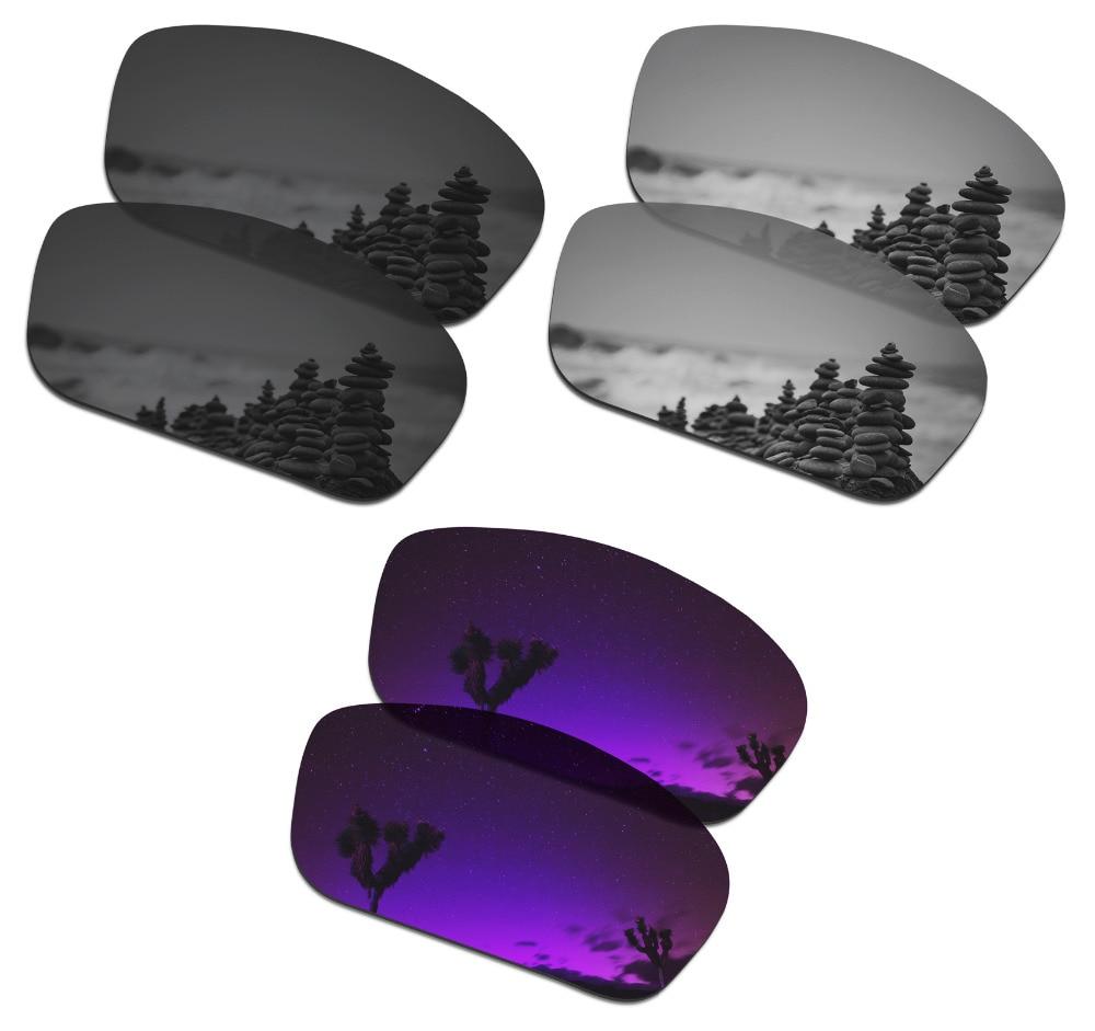 SmartVLT 3 Pairs Polarized Sunglasses Replacement Lenses for Oakley Straightlink Stealth Black & Silver Titanium & Plasma Purple