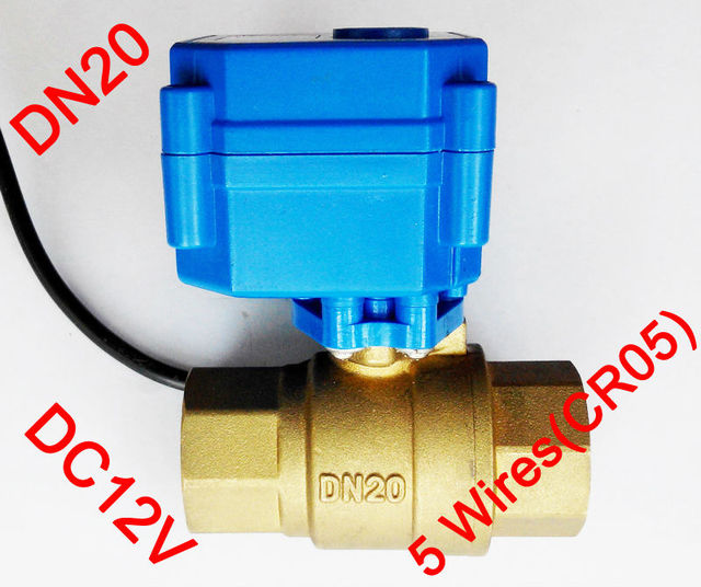 """3/4"""" Brass electric actuated valve , DC12V morotized valve 5 wire (CR05) control, DN20 Electric valve with position feedback"""