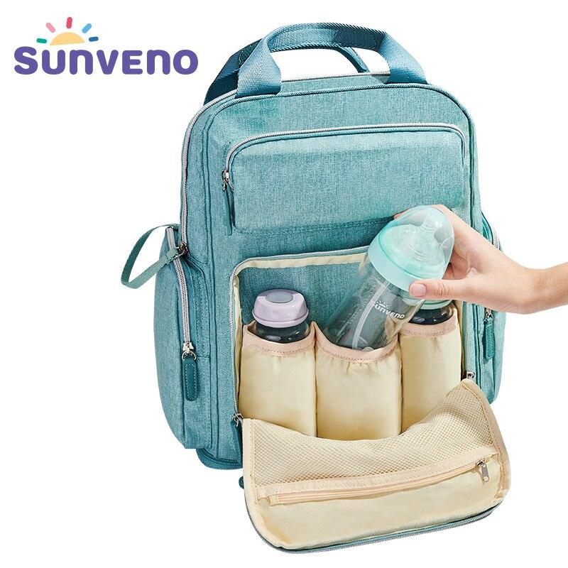 Sunveno saco de fraldas mochila saco do bebê maternidade mãe mochila à moda carrinho de bebê sacos de fraldas para a mãe