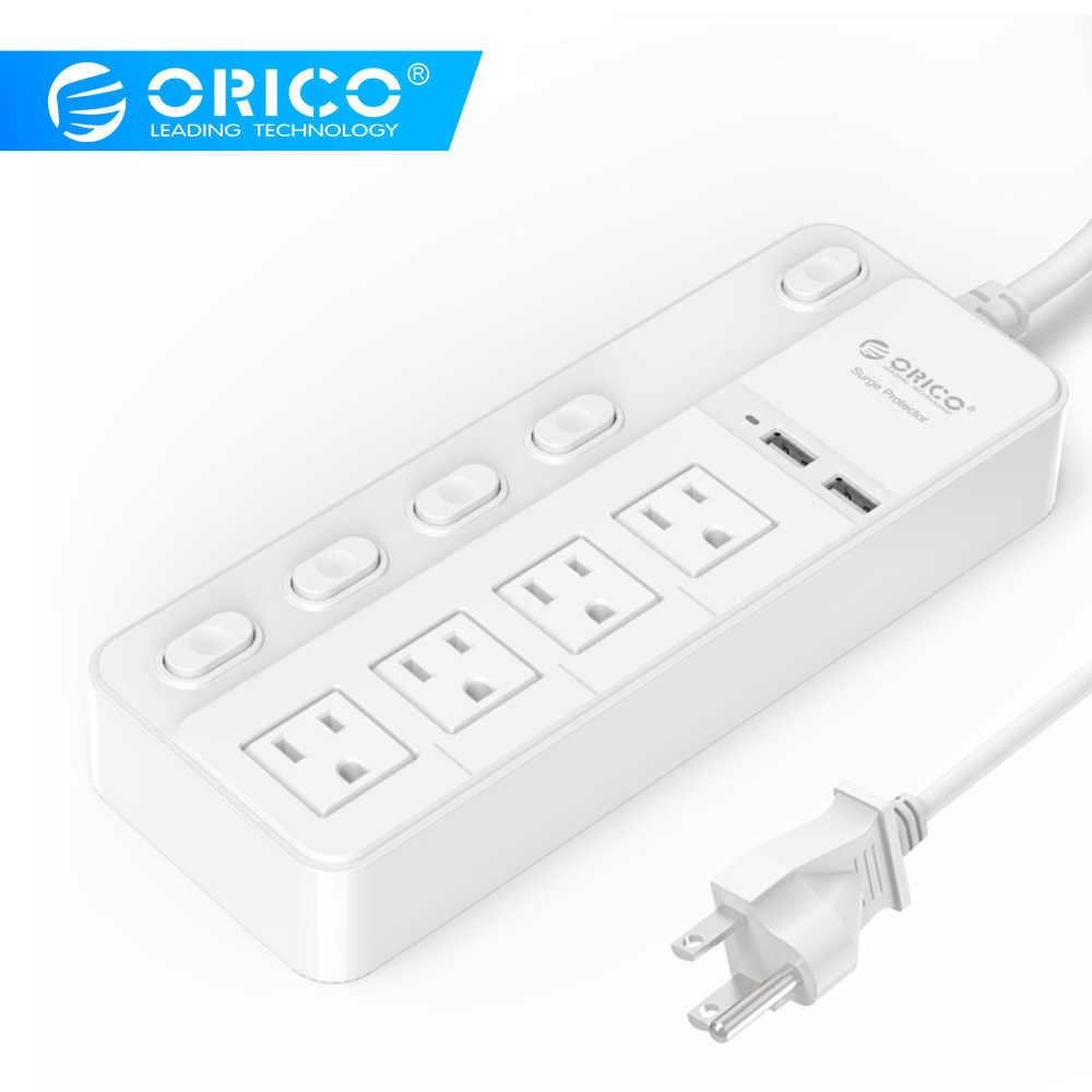ORICO 4 AC gniazdo zasilania taśmy rozszerzenie kabel zabezpieczenie przeciwprzepięciowe US wtyczka gniazda zasilania 2 USB do ładowania Port zasilania przycisk sterowania