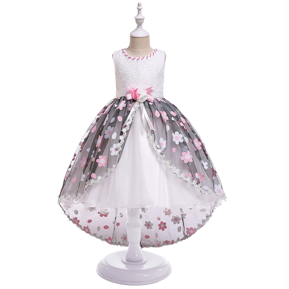 2019 High Low   Girls   Pageant Gowns Lace Applique Sleeveless   Flower     Girl     Dresses   For Wedding Tulle Puffy Kids Communion   Dress