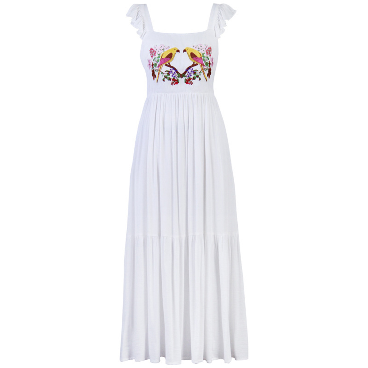 Parrot Embroidered Maxi Dress Ruffle Sleeve Straps Summer Dresses Square Neck