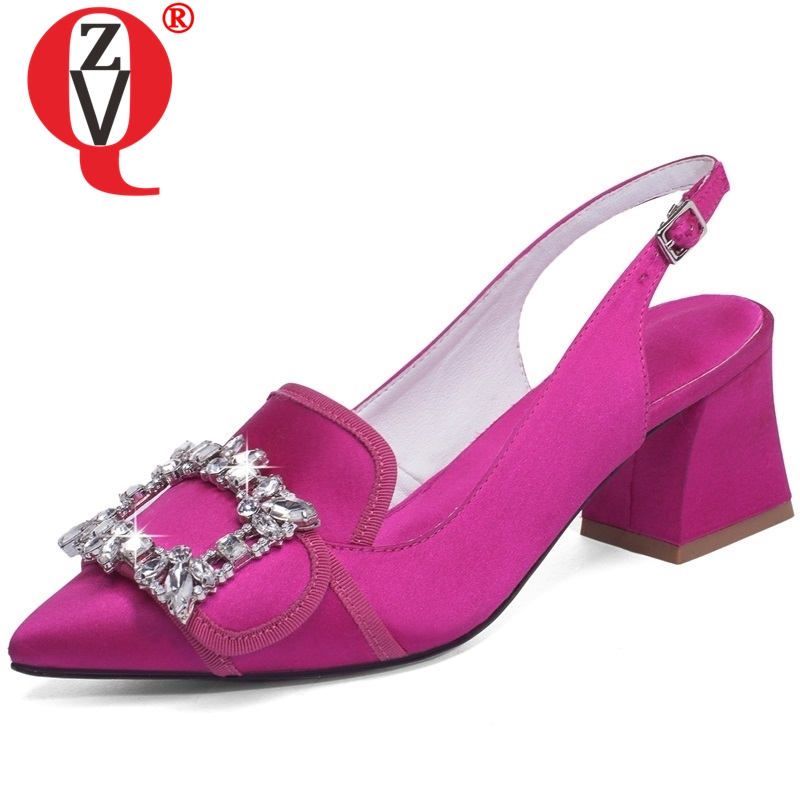 ZVQ women shoes good quality mid heels pumps pointed toe summer crystal shoes back strap fashion party shoes brand heels ladies