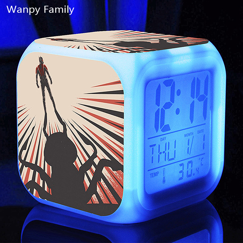 Science fiction movie Ant-Man Alarm Clocks,Glowing LED Color Change Digital alarm clocks Children toys Multifunction clocks