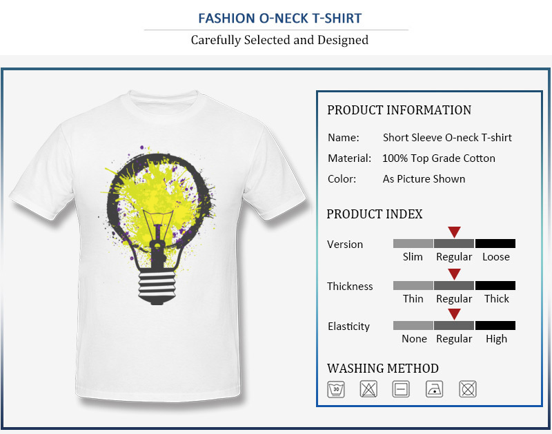 7e158ae8a04 O-Neck 100% Cotton Mens T-shirts Unique Short Sleeve Tops Shirts Slim. T- shirt Cotton