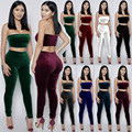 2017 Tracksuit Velvet 2 Two Piece Set Women Sexy Ensemble Femme bandage Bra Crop Top +Elastic Leggings Pants Bodysuit Suit W760