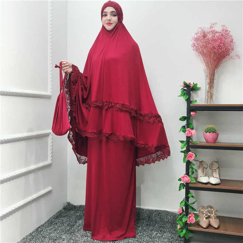 Abaya Dubai Turki Islam Hijab Muslim Gaun Set Kaftan Abaya untuk Wanita Jilbab Kaftan Doa Pakaian Ramadan Elbise Jubah Femme