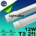 Super Bright 12W 1100 Lumens T8 2ft 0.6m Led Tube Lights AC 110-277V Led Fluorescent Light Tube Lamp +CE ROHS UL SAA