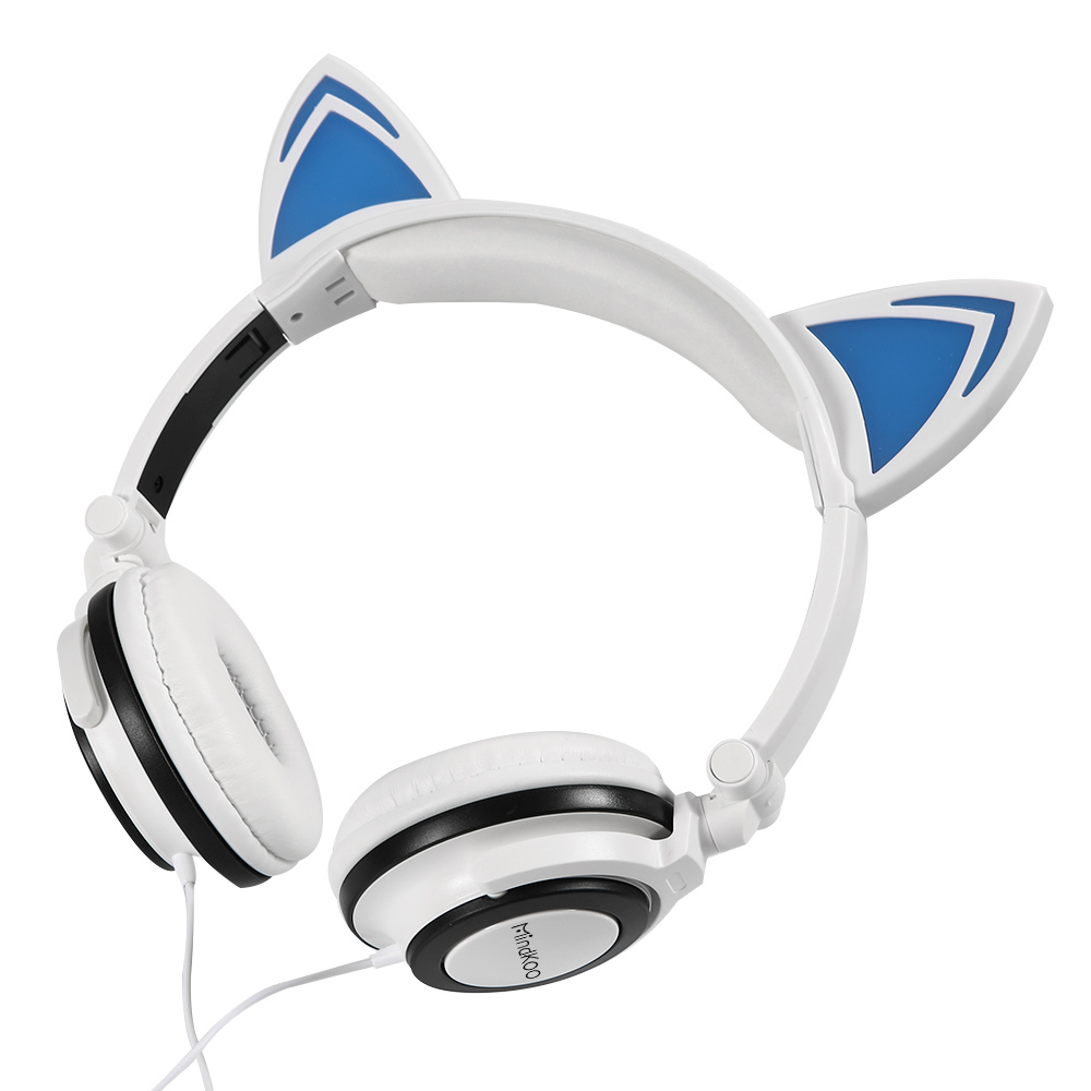 Mindkoo Cat Ear Headphones Music Gaming Headset Earphone LED light For iphone xiaomi huawei PC Laptop Computer pad Smartdevices foldable flashing glowing cat ear headphones gaming headset earphone with led light luminous for pc laptop computer mobile phone