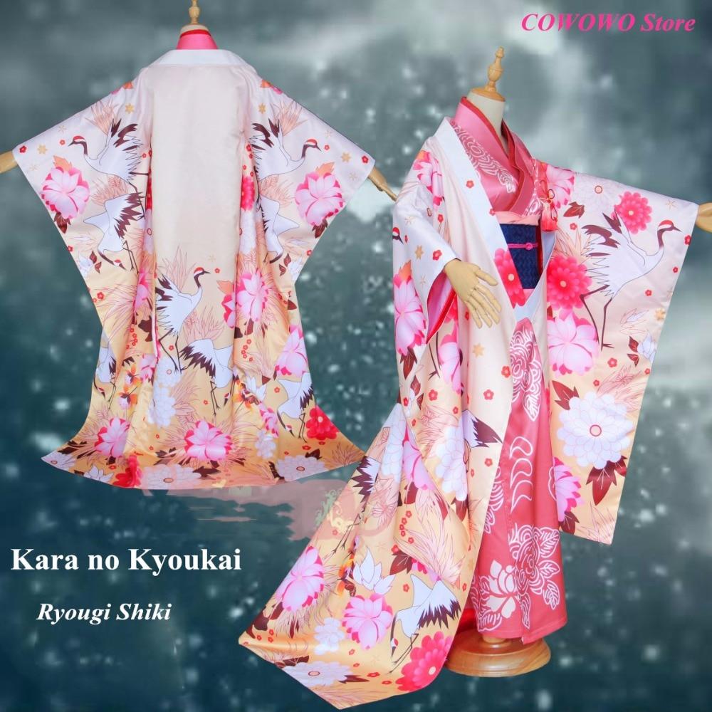 Anime! Kara no Kyoukai Ryougi Shiki Version 3rd FGO Crane Flower Wedding Kimono Floral Print Dress Cosplay Costume Free Shipping
