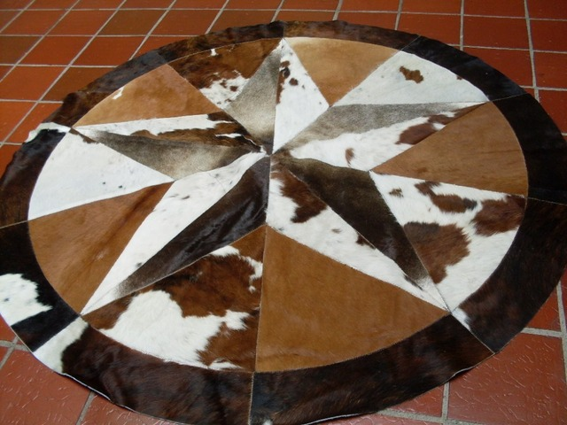 High Quality Cowhide Rug Leather Cow Hide Steer Patchwork Area Round Carpet Cowskin Rugs