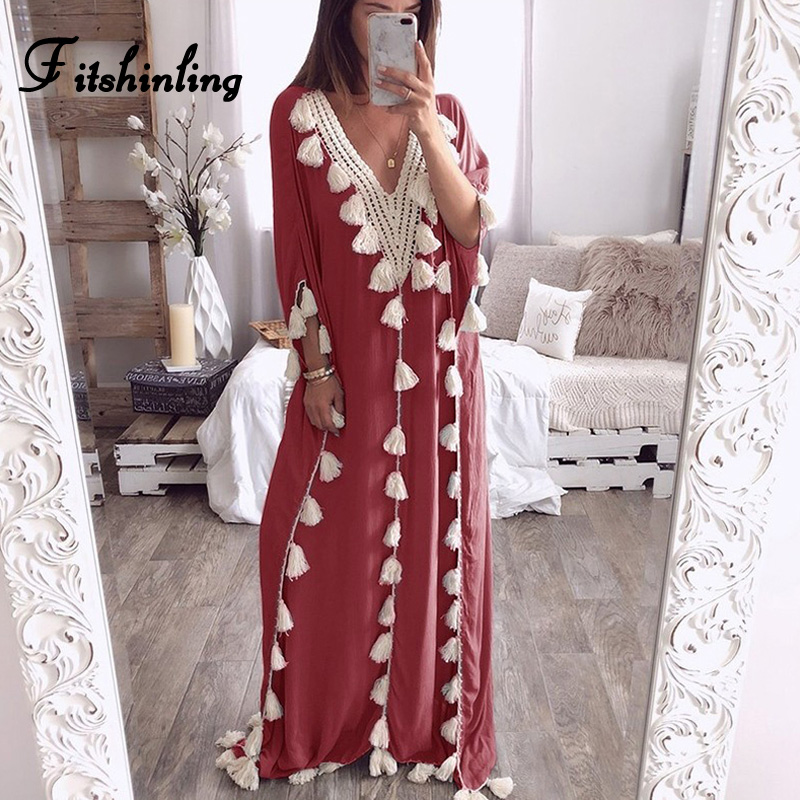 Fitshinling Fringe V Neck Beach Long Dress Bohemian Solid Batwing Sleeve Straight Maxi Dresses Women Cloth Summer Oversize Robe