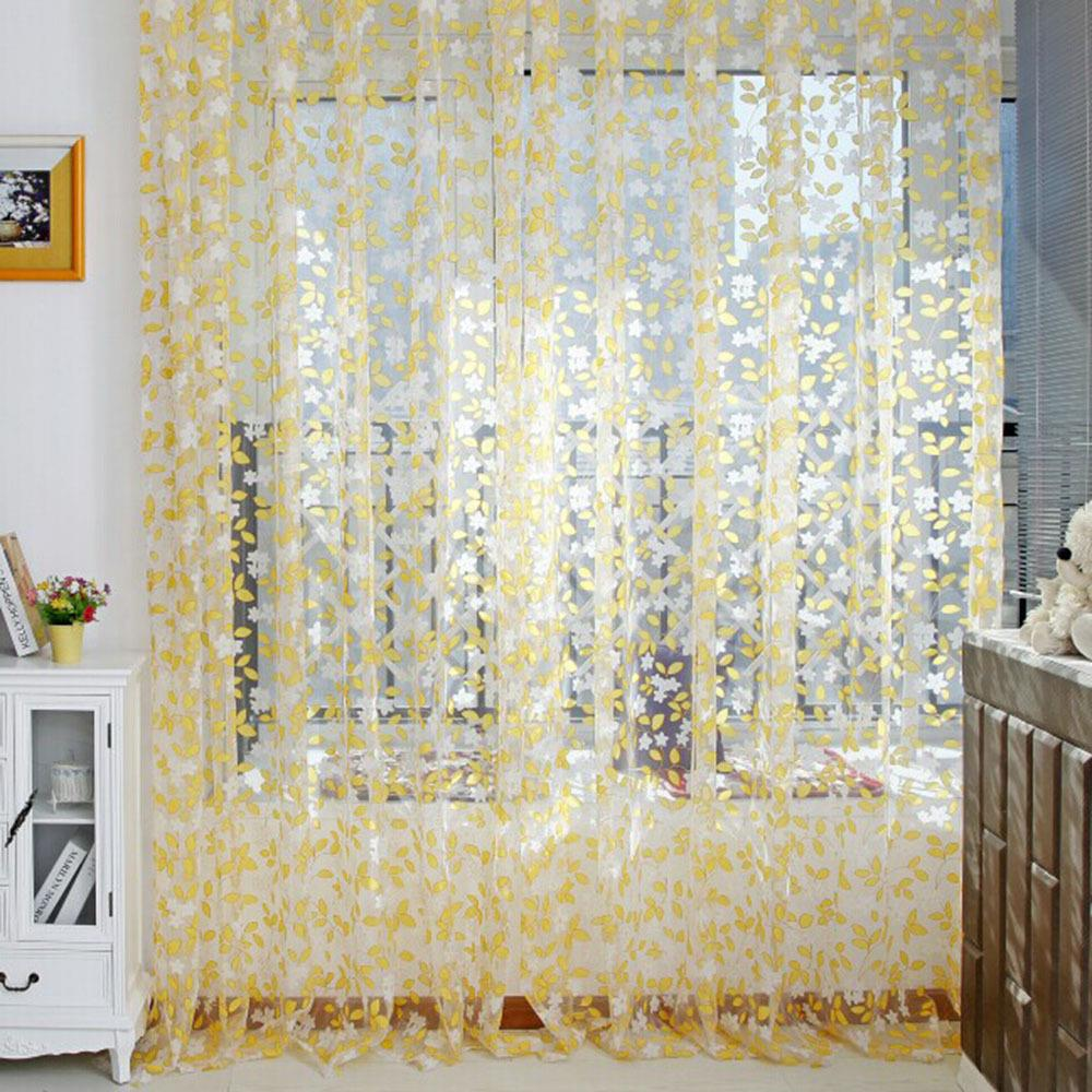 Curtain fashion pastoral printed tulle voile door window for Balcony curtains